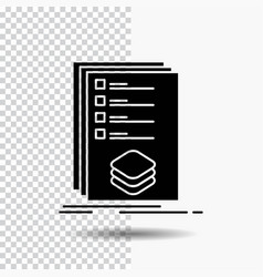 Categories check list listing mark glyph icon on vector