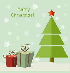 Christmas tree with gifts cartoon vector