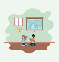 classroom with ethnicity students sitting reading vector image