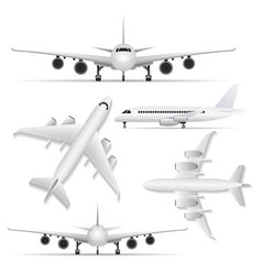 Collage of white plane from different viewpoints vector