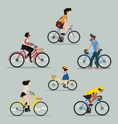 Collection people riding a bicycle set vector