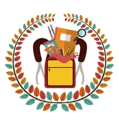Crown of leaves with school supplies in briefcase vector