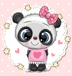 Cute panda girl with pink bow vector