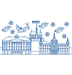 Czech republic brno winter city skyline merry vector
