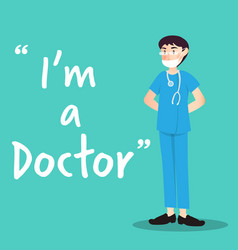 Doctor character with health mask vector