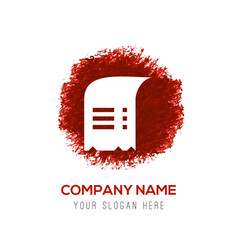 document icon - red watercolor circle splash vector image