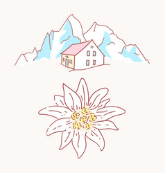 Edelweiss chalet hut cabin mountains symbol vector