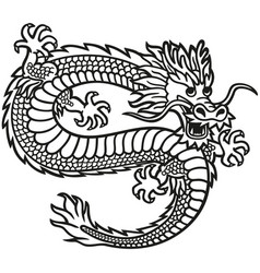 Emblem with image a flying chinese dragon vector