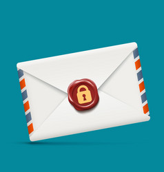Envelope icon with wax seal and lock vector