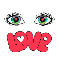 Eyes and love vector