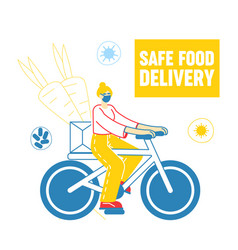 female character riding bicycle delivering food vector image