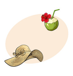 floppy straw hat and coconut cocktail drink vector image