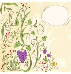 floral grape abstract background vector image
