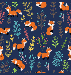 foxes with branches seamless pattern vector image