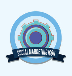 gear settings work social marketing icon emblem vector image