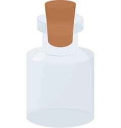 Glass small empty Bottle with wood cork vector image