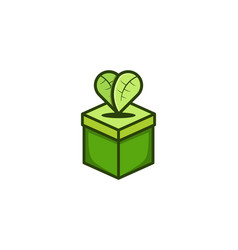 green box and heart shaped leaves logo design vector image