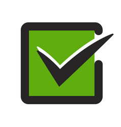 Green tick confirm checkbox flat icon for apps vector