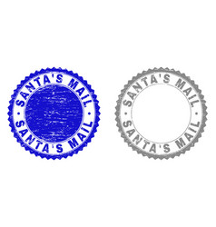 grunge santas mail textured stamp seals vector image