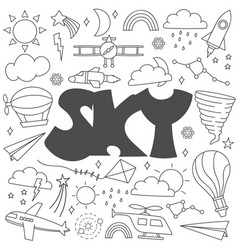 hand drawn doodle sky set vector image
