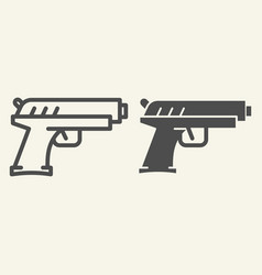 Handgun line and glyph icon pistol vector