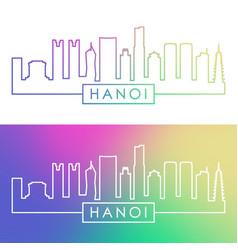 hanoi skyline colorful linear style editable vector image