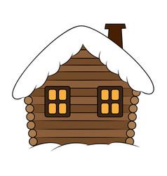House with snow cartoon winter snowy christmas vector