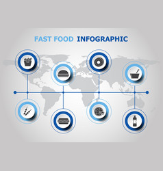 infographic design with fast food icons vector image
