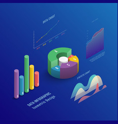 Isometric 3d business infographic with color vector