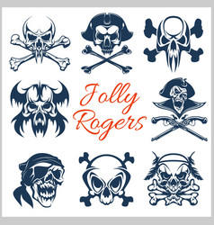 Jolly roger symbols - set on white vector