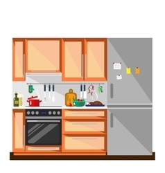 Kitchen in flat style - vector