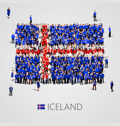 large group of people in the shape of iceland flag vector image