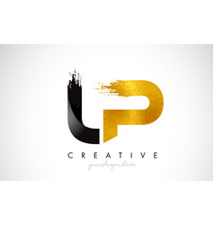 Lp letter design with brush stroke and modern 3d vector