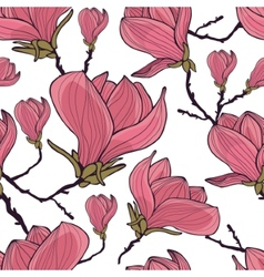 Magnolia seamless pattern vector image