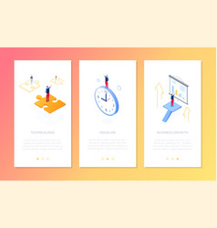 management - set isometric vertical web vector image