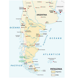 Map patagonia southern part south vector