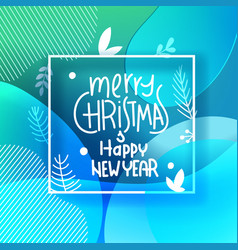 merry christmas greeting card white frame with vector image