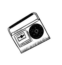 musical equipment retro tape recorders hand vector image