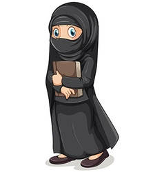 Muslim girl in black costume holding book vector image vector image