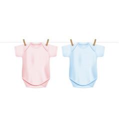 Newborn baonesie shirts hanging on drying rope vector