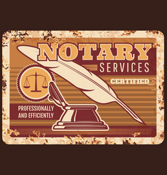 Notary services metal plate rusty legal lawyer vector
