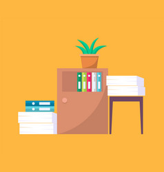office tables with folders and piles of documents vector image