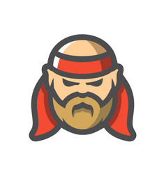 old pirate with red bandage icon cartoon vector image