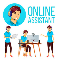 Online assistant asian woman user support vector