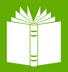 open thick book icon green vector image