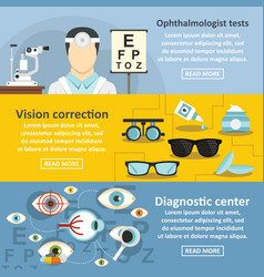 ophthalmologist banner horizontal set flat style vector image