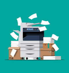 Pile of paper documents and printer vector