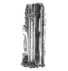 Pillar from the cathedral master vintage engraving vector