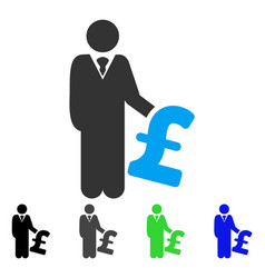 Pound investor flat icon vector