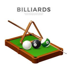 realistic billiards snooker pool balls cue vector image